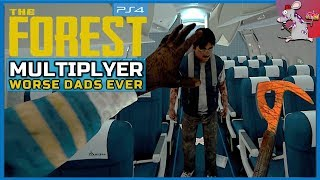 The Forest PS4 Multiplayer - Building A Log Cabin If The Mutants Dont Get Us