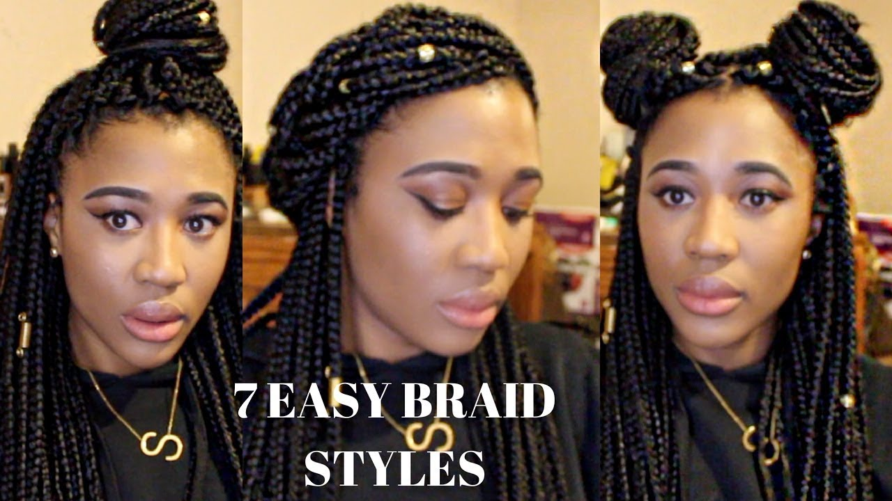 7 Easy Box Braid Styles With Gold Hair Jewelry Sydneyimani Youtube