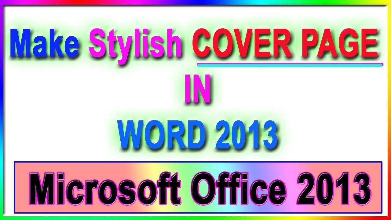 how to create a cover page in word 2013