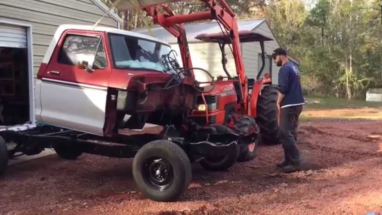 Video 19 - 1974 Ford F100 frame swap and restoration: cab mounted back on  chassis, firewall painted