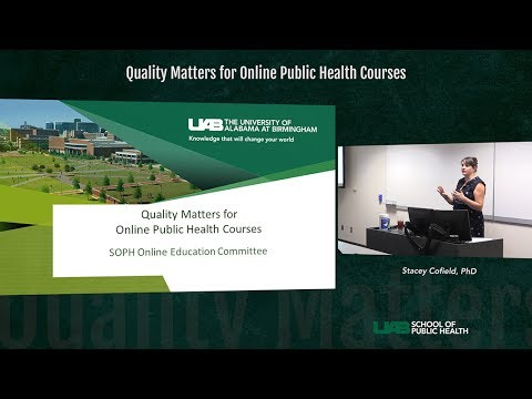 SOPH Online - Quality Matters for Online Public Health Courses