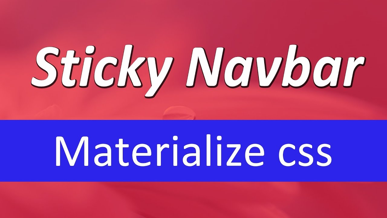 Sticky Navbar in Materialize Css | Fixed Top on scroll | Html, Css, Jquery