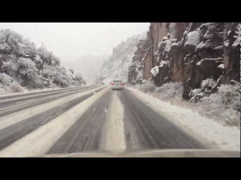 Driving US 60 From Globe to Superior in an Arizona Snow Storm