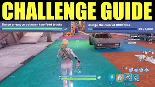 Dance or emote between two food trucks - Change the color of 1000 tiles (Downtown Drop Challenges)