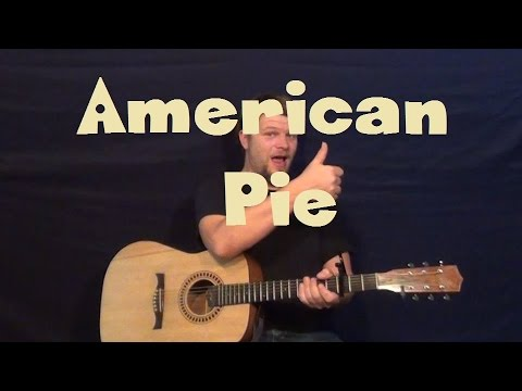 American Pie (Don McLean) Easy Guitar Lesson Strum Chords How to Play Tutorial