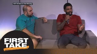 What did Kyrie Irving mean with his James Harden vs. LeBron James MVP comments? | First Take | ESPN