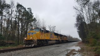 {UP 3883} An Empty Military Train With Union Pacific Power Strikes North In The Freezing Rain!