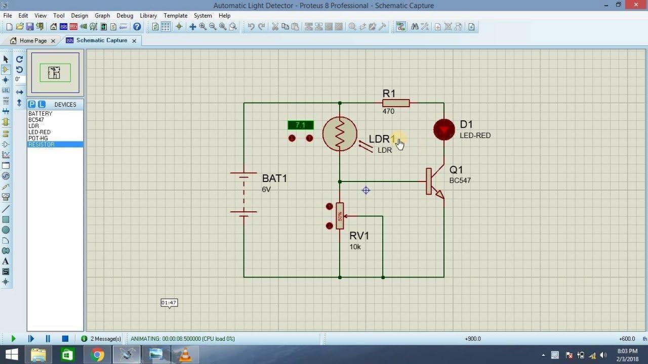 Automatic Light Detector Proteus Implementation (Electrical ...