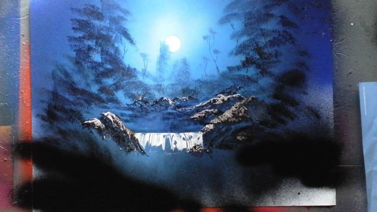 Moonlit Rocks Spray Paint Art - YouTube