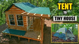 Time lapse of 7 Months OFF GRID - $20 Tent to Tiny House / My OFF GRID Journey to a DEBT FREE Life!
