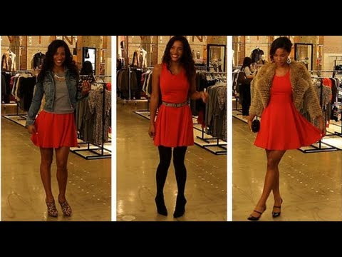 3 Ways to Wear 1 Red Dress For the Holidays! - YouTube