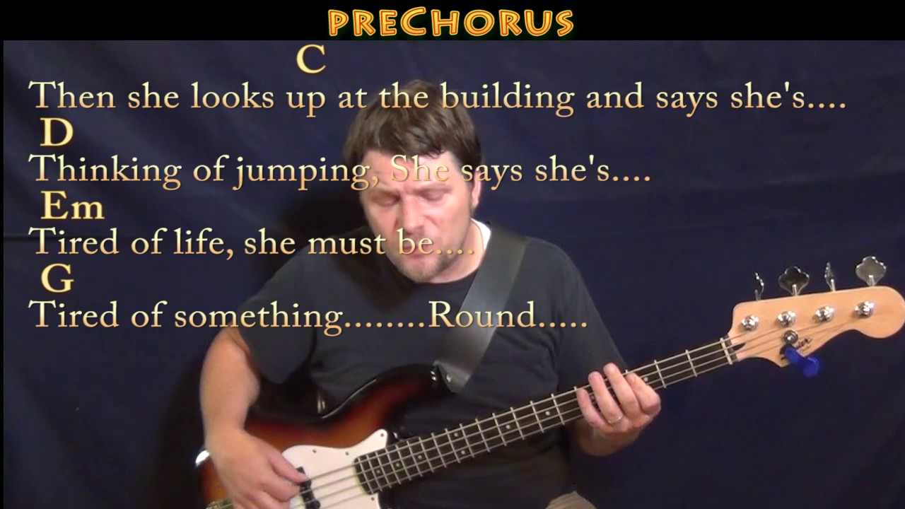 Round Here Counting Crows Bass Guitar Cover Lesson In G With