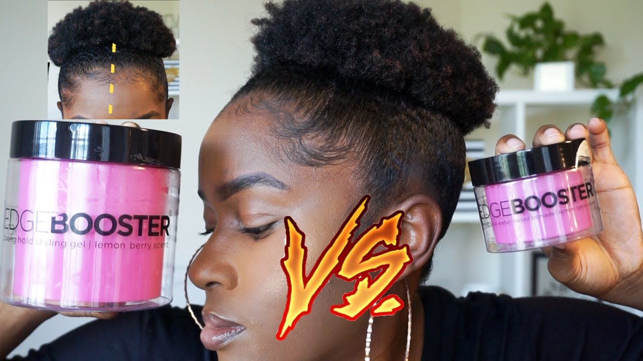 Edge Booster Strong Hold Styling Gel Vs Edge Booster Strong Hold Pomade On Short 4c Natural Hair Youtube