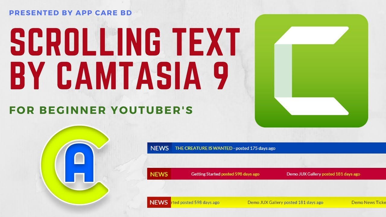 Scroll Text or News Ticker on Camtasia Studio 9 | App Care BD - YouTube
