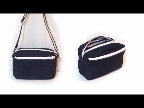 スクエアーショルダーバッグの作り方(裏布がブカブカにならない方法)/ Square Cross Body Bag Tutorial