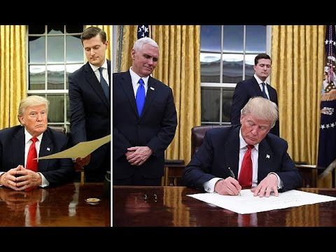 President Trump enters the Oval Office for the first time