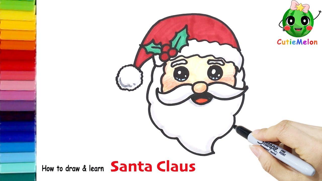 學畫可愛的聖誕老人 邊畫畫邊學英語 How to Draw SANTA CLAUS FACE Easy【西瓜寶寶學畫畫學英語】兒童繪畫 簡筆畫 ...