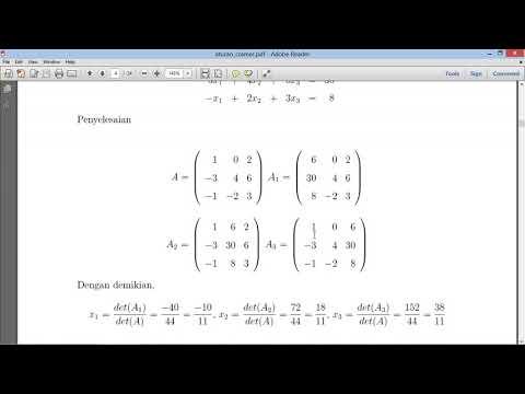 Penerapan Metode SPL Determinan Matriks aturan Cramer Menggunakan Matlab Tadris Matematika IAIN Jemb