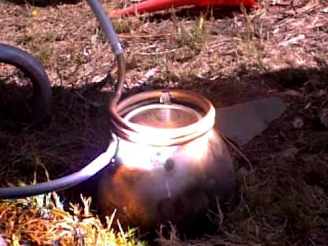 home made solar water heater powered by a fresnel lense