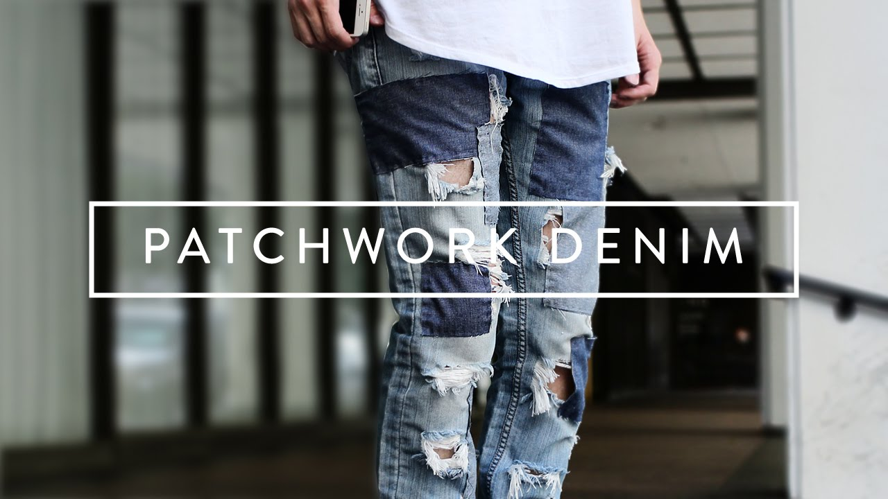 diy patchwork denim jeans youtube