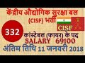 CISF Recruitment 2017| 10th Pass All India Vacancy, Apply Online, Constable Tradesmen Rally |BHARTI