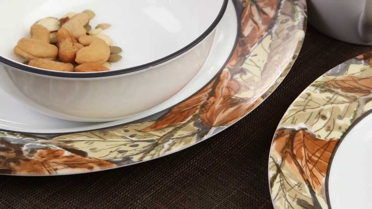 Corelle - Woodland Leaves 16 Piece Dinnerware Set - YouTube