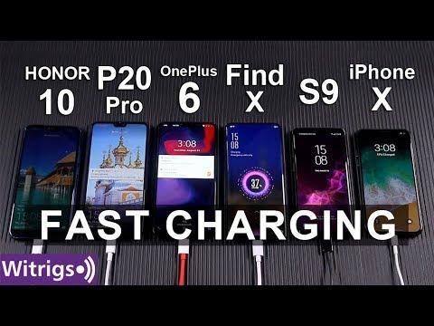 FAST CHARGING TEST | OPPO Find X Super VOOC Vs OnePlus 6 Vs IPhone X VsS9 Vs P20 Pro Vs Honor 10