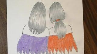 كيفية رسم انستقرام بنات كيوت رسم صديقات