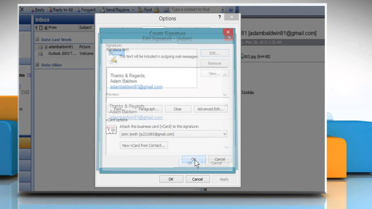 How to attach a vCard to an automatic signature in Microsoft ...