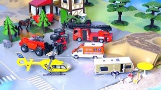 Bagger, LKW, Traktor, Betonmischer & Trucks - Unfall auf dem Bauernhof - Vehicles for Kids