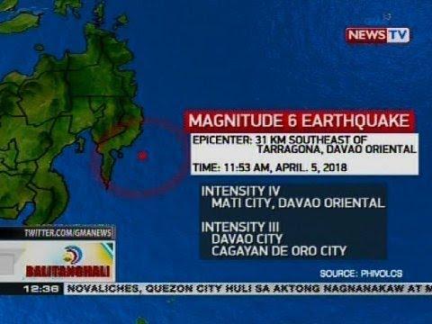 Davao Oriental, niyanig ng magnitude 6 na lindol