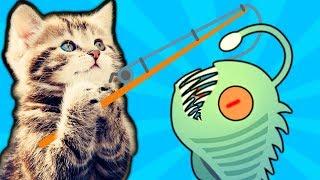 КОТЕНОК РЫБОЛОВ поймал СВЕТЯЩЕЮ РЫБУ МОНСТРА симулятор кошачьей рыбалки детский летсплей от #фгтв