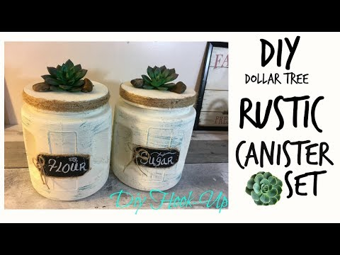 DOLLAR TREE DIY | RUSTIC CANISTER SET