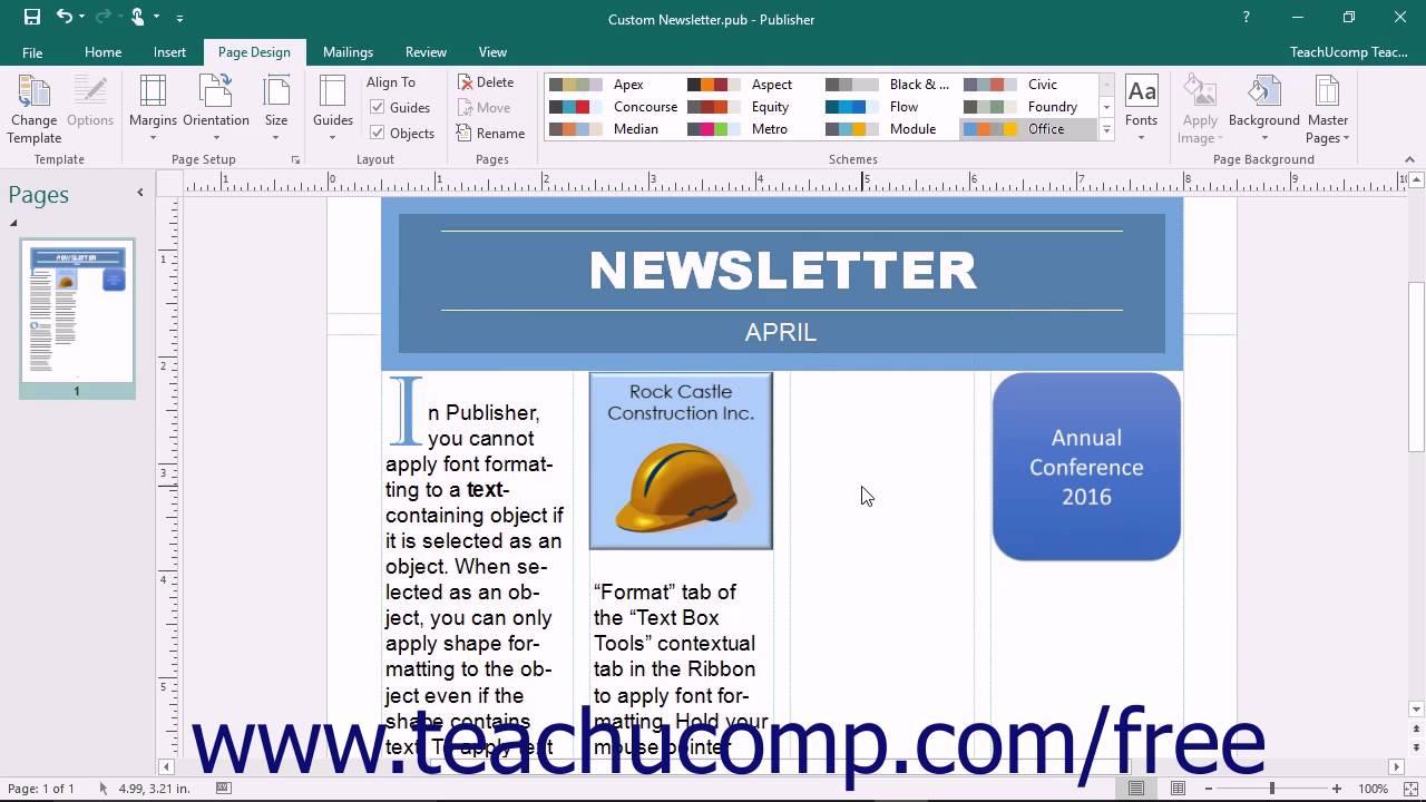 Publisher 2016 Tutorial Creating a Custom Font Scheme Microsoft Training