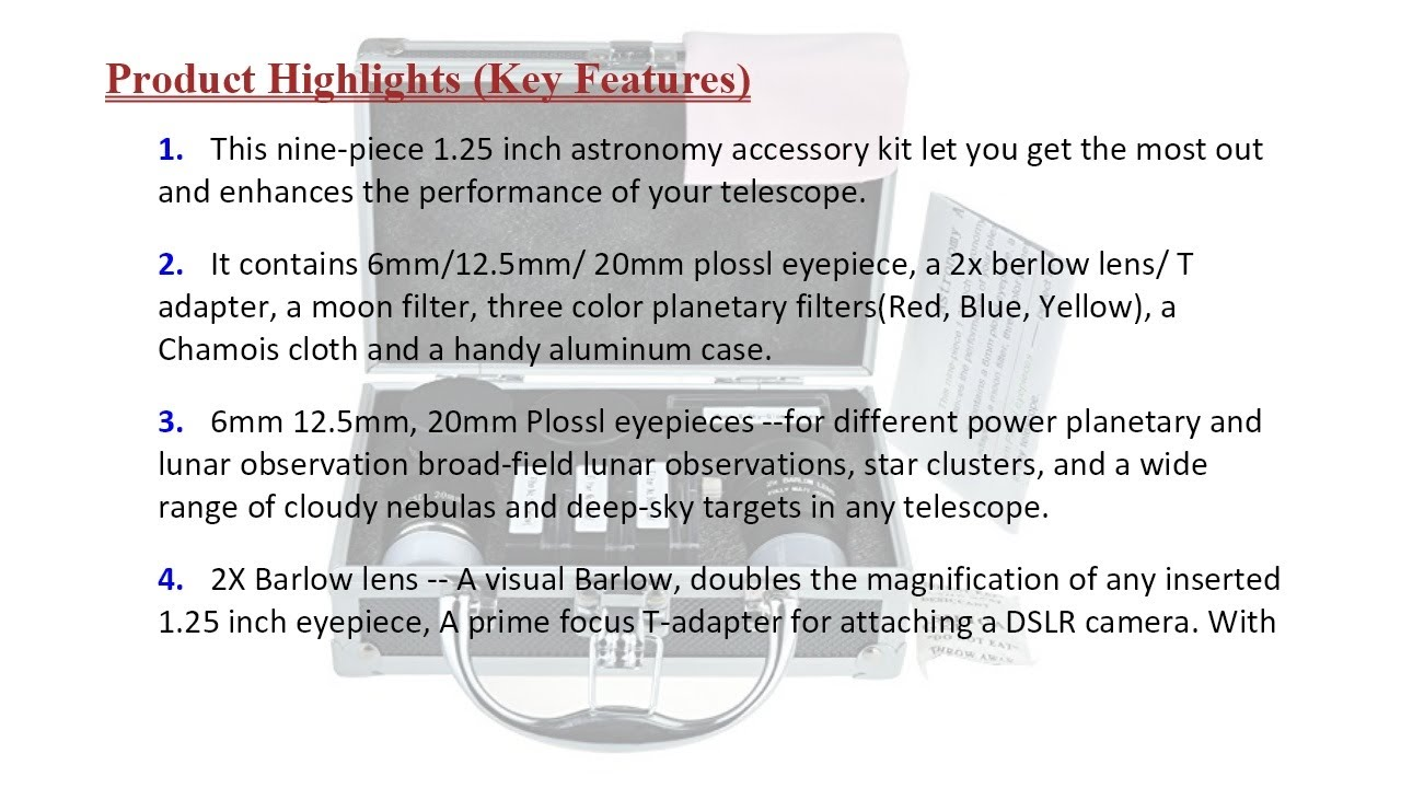 with Telescope Plossl Eyepieces Set Gosky Astronomical Telescope Accessory Kit Filter Set 2X Barlow Lens