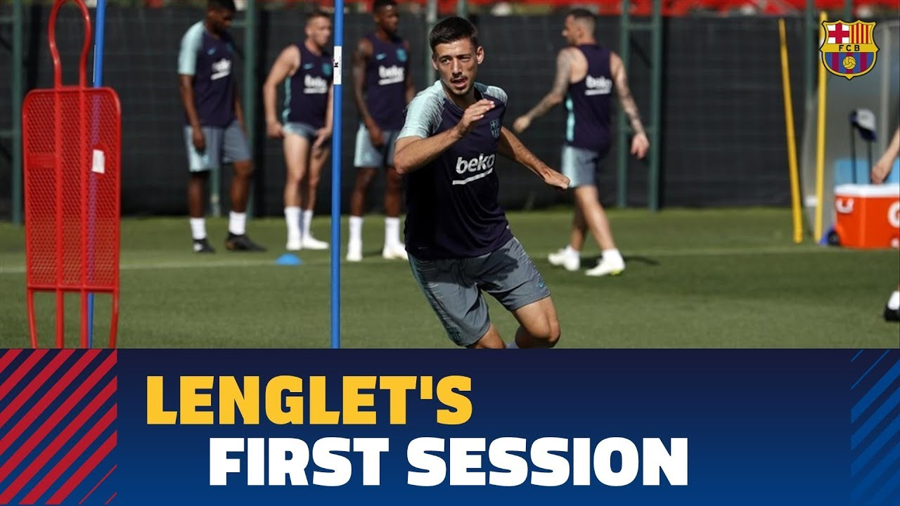 Clément Lenglet trains for first time with FC Barcelona