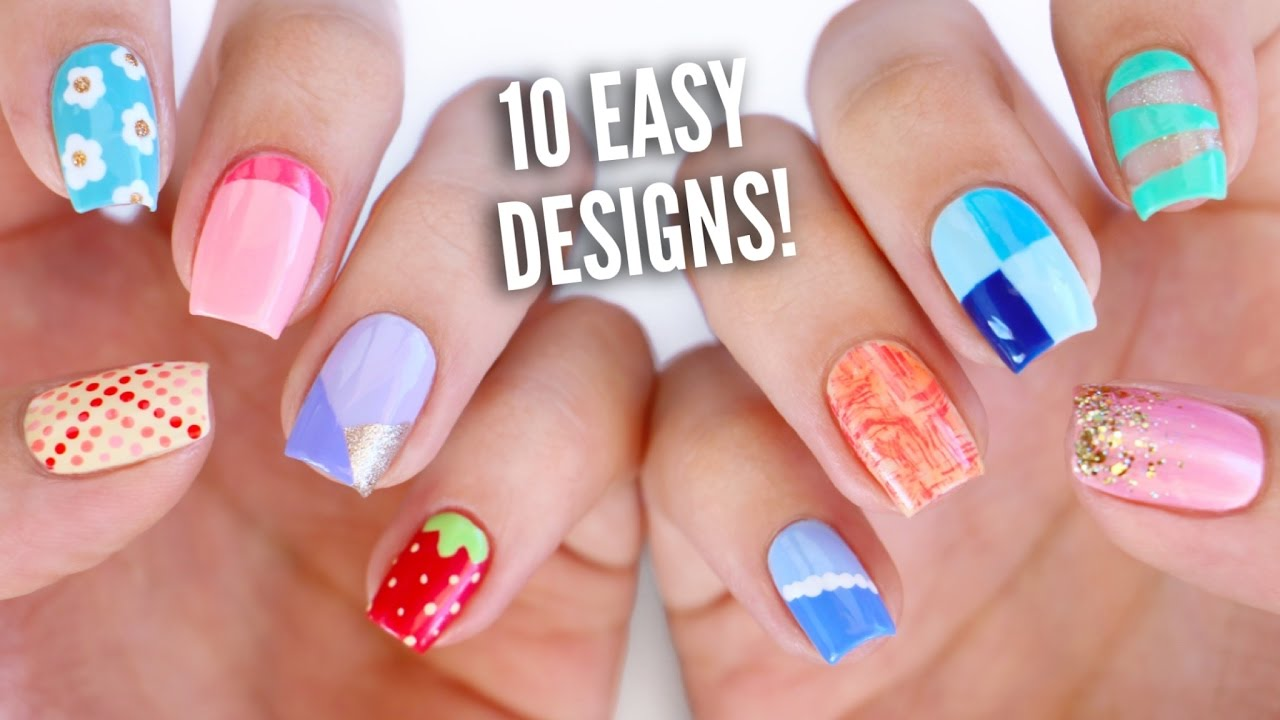 - 10 Easy Nail Art Designs For Beginners: The Ultimate Guide #4! - YouTube