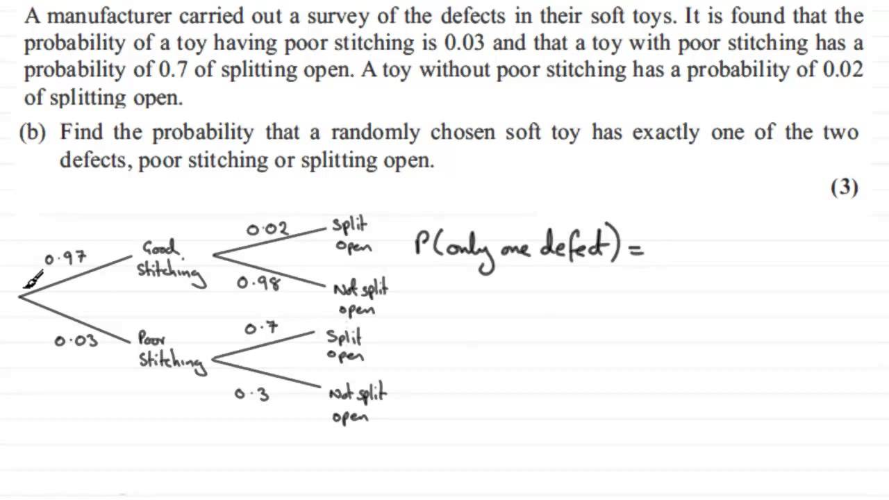 Probability Tree Diagrams   S1 Edexcel June 2012 Q7 B    Examsolutions Maths Videos