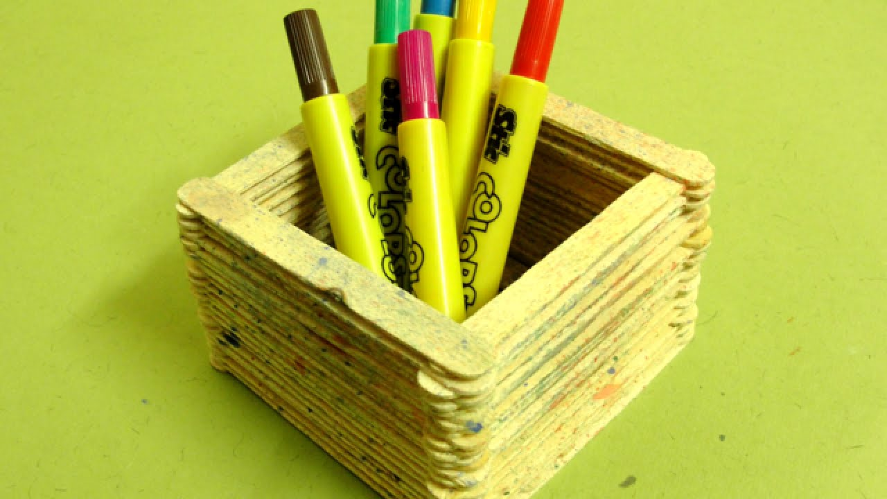 How To Make A Cool Popsicle Stick Pen Stand Diy Home Tutorial