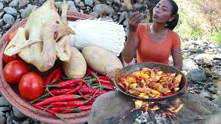 Cooking Chicken Curry Spicy with Mushroom and Tomato for Lunch in Forest - Food my village Ep 10