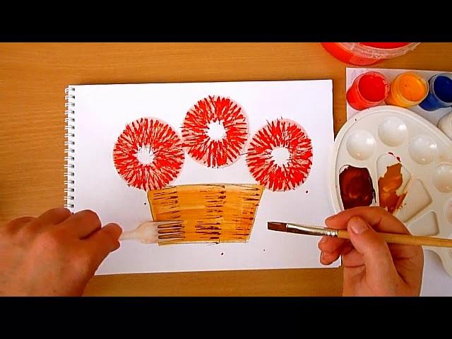 """2 клас. Мистецтво. Практична робота """"Малюємо виделкою квіти"""""""