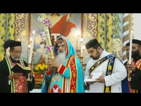 Palm Sunday Service by HH The Catholicos at Mar Elia Cathedral, Kottayam.