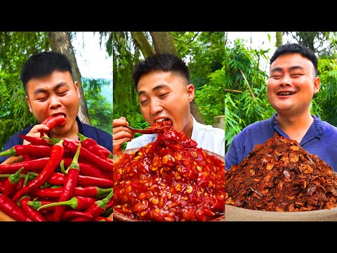 Spicier!! More Chili!! TikTok China Funny Videos   Spicy Foods Mukbang by Songsong and Ermao