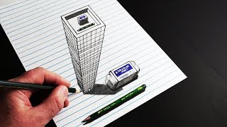 How to Draw Trick Art 3D Building on Line Paper