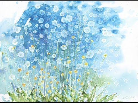 How to watercolor:  Even More dandelions!! Large format 22