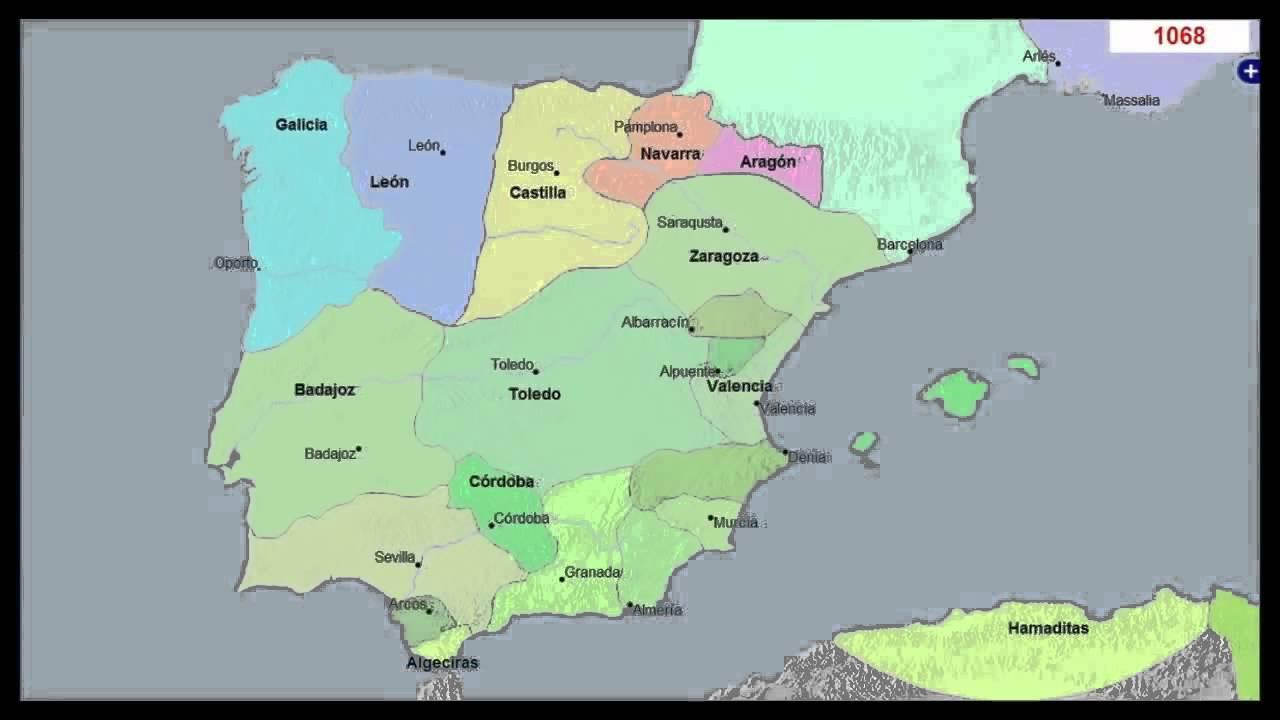 mapa da península iberica portugal e espanha Mapa Histórico de Portugal e Espanha em 3000 anos   YouTube mapa da península iberica portugal e espanha