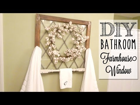 DIY Farmhouse Window Towel Rack