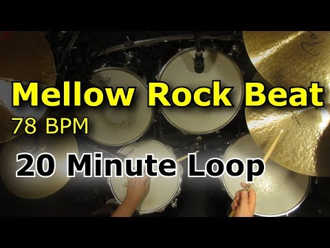 20 Minute Backing Track - Mellow Groove Rock Drum Beat 78 BPM