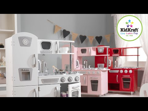 Kidkraft Retro Küche   Kinderspielküche weiss rosa rot Top Qualität   Dreams4Kids