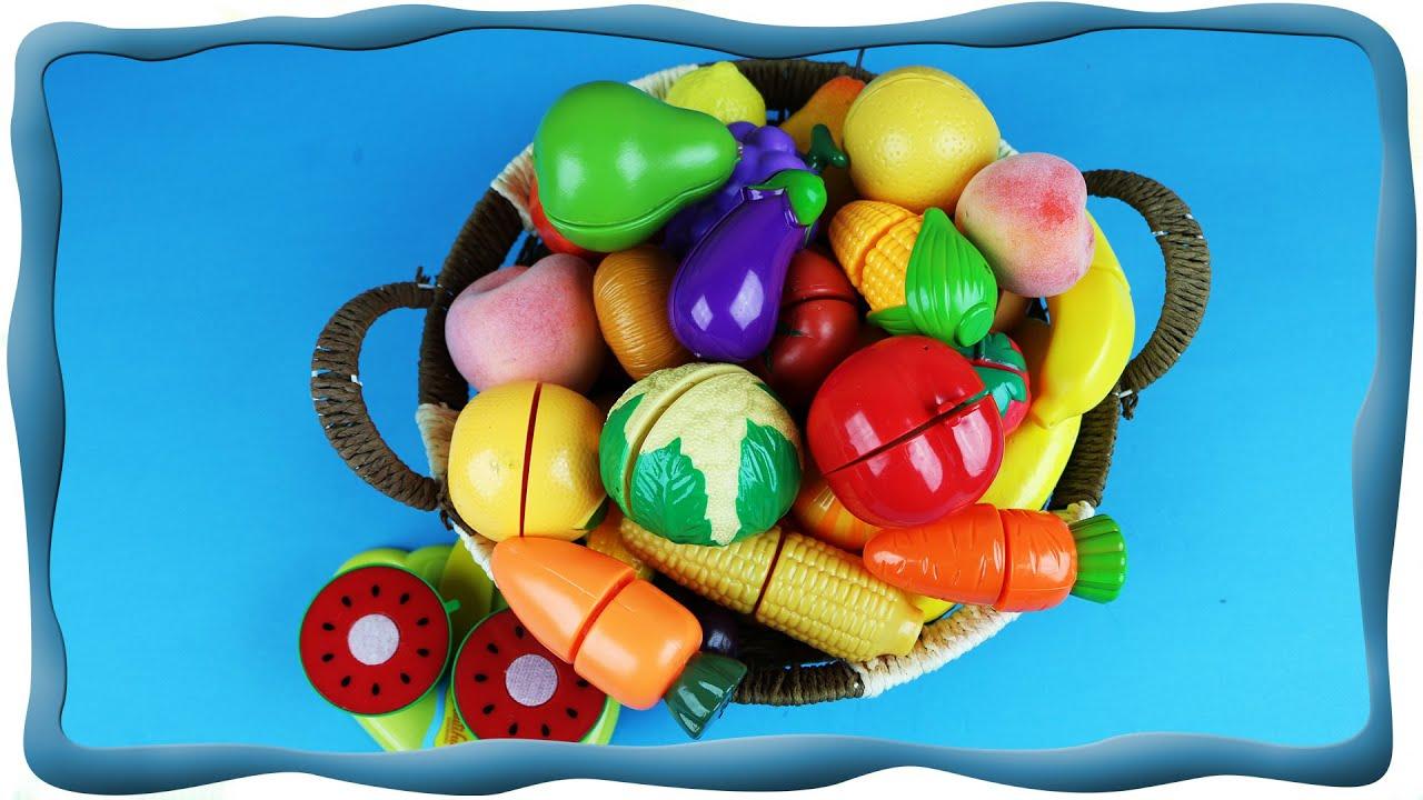 Учим фрукты и овощи, Режем фрукты и овощи на липучках ...